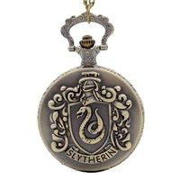 hogwarts taschenuhr groihandel-Retro H Potter Halskette Bronze Hogwarts College Slytherin Quarz Taschenuhr Analog Anhänger Halskette Slytherin Thema Halskette