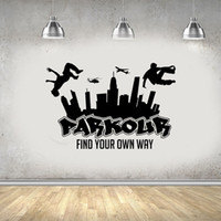 Wholesale wallpapers for free for sale - Group buy Parkour Free Running Jumping Urban Style Skate Graffiti Art Wall Sticker for Club Background Vinyl Wallpaper Art Murals