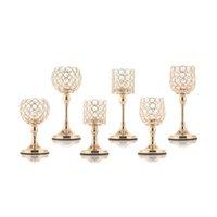 candelabros de vidrio pilar al por mayor-Pilar de cristal portavelas de cristal Tabla Vela Velas Bases para la boda de decoración para el hogar del estreno de regalo Y200109