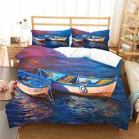 Wholesale lake bedding set resale online - Duvet Cover Set Bedroom Clothes D Wooden Boat in Lake Oil Painting Home Textile with Pillowcase Bed Linen King Queen Size