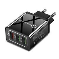 Wholesale charger 5v 9v 12v online – QC Fast Charger USB V V V Travel Cell Phone Charger for US EU A Quick Charging Head Black