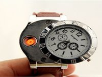 Wholesale fast ship Men s watch metal windproof charging watch lighter USB windproof cigarette lighter