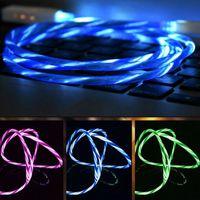 führte sichtbare flache mikro großhandel-1M sichtbare fließende Mircro USB / Typ C Smart Ladedaten Beleuchtungskabel Linie LED Fließdraht Leuchtende flache Ladeleitung