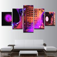 ingrosso dipinti strumenti musicali tela-HD pittura astratta su tela per soggiorno decorazione della parete 5 pezzi decorazione immagine strumento musicale