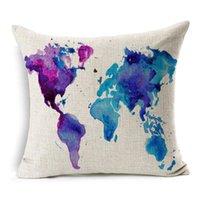 dünya haritası davası toptan satış-Deniz Yelkenli Sanat Yastık Kapakları Gemi Tekne Çapa Dümen Dünya Haritası Minder Kapak Kanepe Atmak Dekoratif Keten Pamuk Yastık Kılıfı