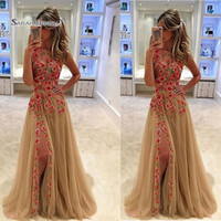 Wholesale fashion sale shirt images resale online - Delicate Jewel Appliques Sexy Split Sleeveless Prom Dresses High End Quality Party Dress In Hot Sales