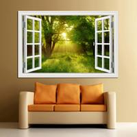 vista de janelas 3d venda por atacado-Janela 3D Vista Da Paisagem Da Floresta em Quatro Estações 3D Adesivo de Parede Verde Árvore de Ouro Removível Papel De Parede Casa Decalque Home Decor