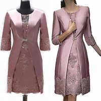 Wholesale short winter wedding dress jacket for sale - Group buy Elegant Sheath Short Mother Formal Wear With Jacket Evening Satin Lace Party Wedding Guest Dress Mother Of The Bride Dress Suit Gowns