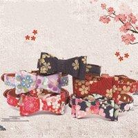 kiraz yayı toptan satış-Kedi Yaka Mulitcolor Baskılı Kiraz Çiçek Desen Yaldız Papyon Köpek Yaka Eğitim Araçları Küçük Pet Malzemeleri 3 53 amg E1