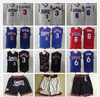 Wholesale julius for sale - Group buy Mens Philadelphia ers Throwback Jersey Allen Iverson Julius Erving Basketball Jersey Basketball Shorts Black Gold Blue