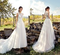 Wholesale vintage beach wedding dresses for sale - Cheap Beach Bohemian A Line Lace Wedding Dresses Jewel Neck Backless Beadings Crystals Lace Applique Wedding Dress Bridal Gowns