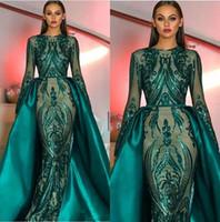 vestidos de noite longos muçulmanos venda por atacado-Luxo Muçulmano Verde Escuro Mangas Compridas Lantejoulas Sereia Vestidos de Noite 2019 Ilusão Plus Size Formal Festa Prom Vestidos Com Saia Destacável