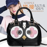Wholesale lady bird bag resale online - Lady bags Shoulder Bags package Color Collision Leather Female Package Shell Love Birds Series Slanting Small Baotou Layer Cowhide Handbag