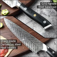 Wholesale professional chefs knives for sale - Group buy YKC Hot Damascus Chef Knife Vg10 Professional Kitchen Knife Cleaver Cooking Tool Exquisite Plum Rivet G10 Handle With Knives Cover