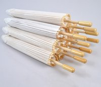 novias sombrillas al por mayor-60Pcs Wedding Bride Parasols White Paper Umbrella Handle de madera Japanese Chinese Craft Umbrella 40cm 60cm Diameter Wedding Umbrellas