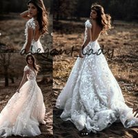 Wholesale vintage rose beach resale online - Modern Country Berta Wedding Dresses V neck Cap Sleeve Luxury Lace D Rose Floral Garden Boho Woodland Bridal Wedding Gown