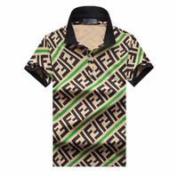 плюс мужские поло оптовых-Плюс Размер 3XL Multi Вышивка Рубашки Поло Человек Модный Дизайн Ребристые Рукава Split Hem Стрейч Поло Топ Мужской
