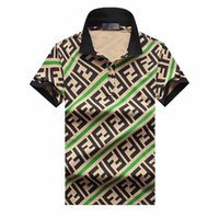 artı boyutu erkek polos toptan satış-Artı 3XL Boyutu Çok Nakış Polo Gömlek Adam Moda Tasarım Nervürlü Kollu Bölünmüş Hem Streç Polos Üst Erkek