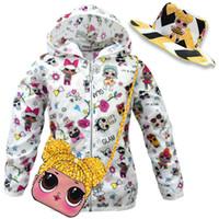 ingrosso pacchetti di cappello-Surprise Girls Sun Coat con secchielli Cappelli Crossbody Borse Bambini Sunproof Summer Hoodies Giacca Coat Sunhat Fanny Pack Suit a tre pezzi C71705