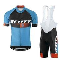 scott cycling bibs jersey toptan satış-2019 SCOTT takım Bisiklet Forması Set Erkekler Bisiklet Giyim Kısa Kollu gömlek Önlüğü Şort Takım Yüksek Kaliteli yaz bisiklet spor üniforma Y032109