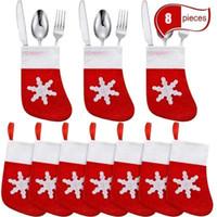 Wholesale knife decor resale online - Mini Christmas Stockings Tableware Cover Knife Spoon Fork Bag Christmas Decor Bag PC N18