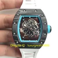 caja de gafas de goma al por mayor-Reloj deportivo para hombre Top Luxury Track Edición limitada Reloj de pulsera Autoamatic Sapphire Glass NTPT Caja de fibra de carbono Correa de caucho Reloj suizo