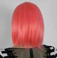 Wholesale straight pink cosplay wig for sale - WIG shipping COSPLAY WIG New Short Dark pink Wig