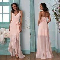 pfirsiche plus größe kleider großhandel-Peach Pink Country Long Sleeves Brautjungfernkleider 2019 Hallo-Lo V-Ausschnitt Chiffon Drapped Plus Size Trauzeugin Kleider Günstige