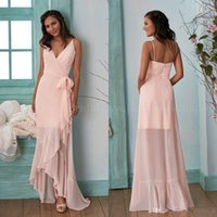 Wholesale burgundy dress chiffon sleeve resale online - Peach Pink Country Long Sleeves Bridesmaid Dresses Hi Lo V Neck Chiffon Drapped Plus Size Maid Of Honor Gowns Cheap