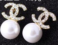 new girl accessories toptan satış-Yeni Lüks Marka Tasarımcısı Saplama Küpe Mektuplar Kulak Saplama Küpe Kadınlar Kızlar için Altın Gümüş Takı Aksesuarları Hediye