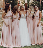 f7ef2ea6df6 2019 Baby Pink Convertible Style Bridesmaid Dresses Pleats Floor Length Maid  Of Honor Wedding Guest Gown Formal Evening Dresses Custom Made