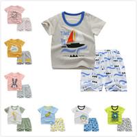Wholesale kids boy korean t shirt for sale - Group buy 2Pcs set Summer Cotton Baby Boys Clothes Suit Korean Casual Short sleeved T shirt Shorts Kids Outfits Toddler Boys Clothing Set
