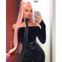 Wholesale straight pink cosplay wig online - Synthetic Lace Front Wigs For Women Pink Color Cosplay Wigs Long Silky Straight Glueless Synthetic Wigs Heat Resistant Fiber Hair Party Wig