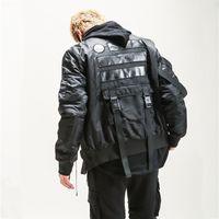 homens estilo jaqueta bomber venda por atacado-Novos homens estilo militar inverno grosso jaqueta bomber multi-bolso fita streetwear hip hop de alta qualidade quente parka jaqueta casacos