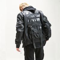 askeri tarz kış ceket erkek toptan satış-Yeni Erkekler Askeri stil kış Kalın Bombacı Ceket Çok cep Şerit Streetwear Hip hop Yüksek kalite sıcak Parka Ceket mont