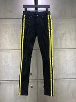 neue gelbe jeans für männer großhandel-Hochwertige Mode New Style Herren Denim Schwarz Jean Gelb Streifen Hosen Löcher Jeans Reißverschluss Herren Hosen Hosen