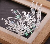 coroas redondas para noivas venda por atacado-Coroa da noiva Cocar Rodada Coroa Simples Artesanal De Cristal Bead Princesa Ornamento Do Cabelo Do Casamento Da Noiva Jantar Ornamento Do Cabelo