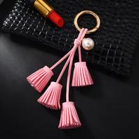 Wholesale red velvet car for sale - Group buy South Korea velvet tassel key chain tassel pearl pendant car leather pendant female key chain plush bags hang C20