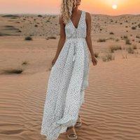 ingrosso tuniche in boemia-2019 Lady Fashion Casual Women Scollo a V Polka Dot Lunghezza intera Abito tunica bohémien Taglie forti
