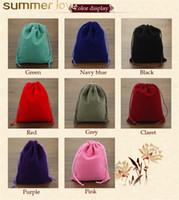 bolsas de regalo estrella púrpura al por mayor-Moda 20 Unids / lote 8x10 cm Coloful Bolsa de Terciopelo Joyería Embalaje Pantalla Cordón Embalaje Bolsas de Regalo Bolsas