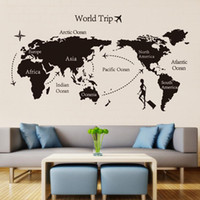 papel autocolante para giz venda por atacado-Mundo preto mapa de viagem adesivos de parede de vinil para quarto de crianças home decor escritório art decalques 3d papel de parede sala de estar quarto decoração