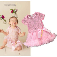952c108327b romper tutu princess lace Australia - Summer Baby Rompers Lace princess  Pink Newborn Romper Girls One