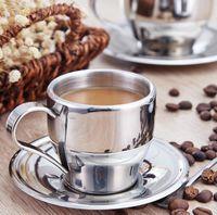 teetassen großhandel-160 ml Edelstahl Kaffee Tee Set Doppelschicht Kaffeetasse Espressotasse Milch Tassen Mit Teller Und Löffel GGA2646