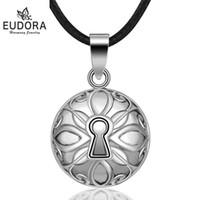gümüş kaplama bilyalı kolye toptan satış-EUDORA 21mm Kaplama Gümüş Harmony Bola Topu Kolye Meksika Kolye Annelik Kolye için Ses Müzik Topu Bebek Hediye takı