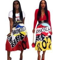personaje vintage al por mayor-Las nuevas mujeres de lujo elegantes Clubwear Carta de Personaje de época Longitud de impresión de cintura alta a media pierna faldas plisadas oscilación grande de la falda 4 Color