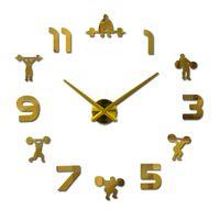 diy saatli dijital saatler toptan satış-Sıcak Satış dijital Diy 3d Duvar Saati Saatler Avrupa Çıkartmalar Büyük Dekoratif Akrilik Ayna etkisi Kuvars İzle Oturma Odası
