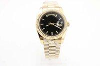 37мм часы мужчин оптовых-2019день недели мужские часы черный циферблат 18-каратного золота 37 мм дата из нержавеющей стали оригинальная застежка GD2836 автоматическое движение рома наручные часы