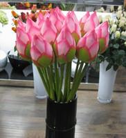 flores artificiais para hotéis venda por atacado-Flor Artificial Vivid 78 centímetros Artificail Silk Lotus Bud Hotel And Restaurant Flor artificial decorativa Pond Plant Simulation EEA549