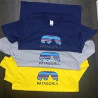 mavi baskı gömlek toptan satış-PATAGONIA Baskı Erkek Kadın Moda Marka T-Shirt Yaz Kısa Kollu Ekip Boyun Casual Tees Tops Erkek Giyim Sarı Mavi Gri S-3XL