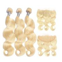 613 fermeture frontale blonde achat en gros de-613 Ombre Blonde Cheveux Corps Vague Bundles avec L'oreille À L'oreille Fermeture Frontale Remy Malaisien Extension De Cheveux Humains Blonde